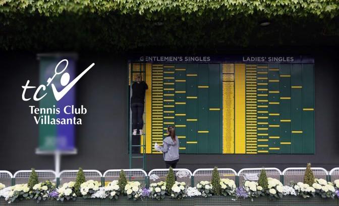 Ground staff prepare the tournament indicator board at Wimbledon in London June 22, 2013.  REUTERS/Stefan Wermuth  (BRITAIN - Tags: SPORT TENNIS)